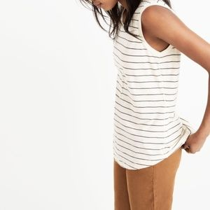 Madewell Muscle Tank in Cream Blue Stripe